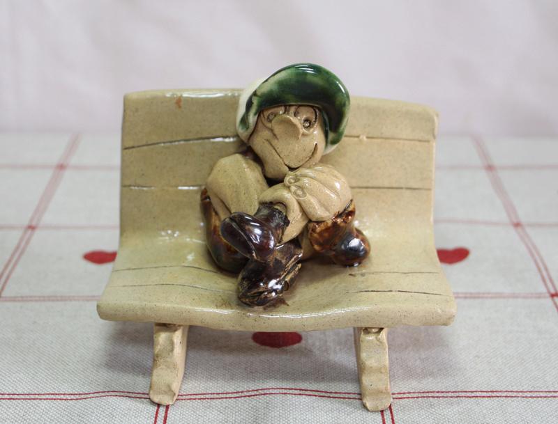 Art Pottery Figure on Bench Marked K T? Img_1010