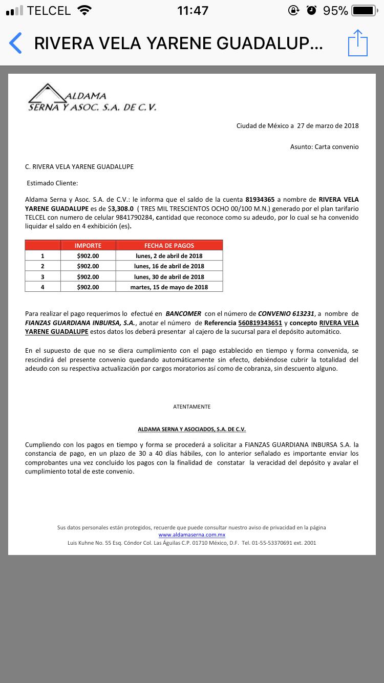 CARTA CONVENIO TELCEL POR MEDIO DE DESPACHO DE COBRANZA 6f01b610