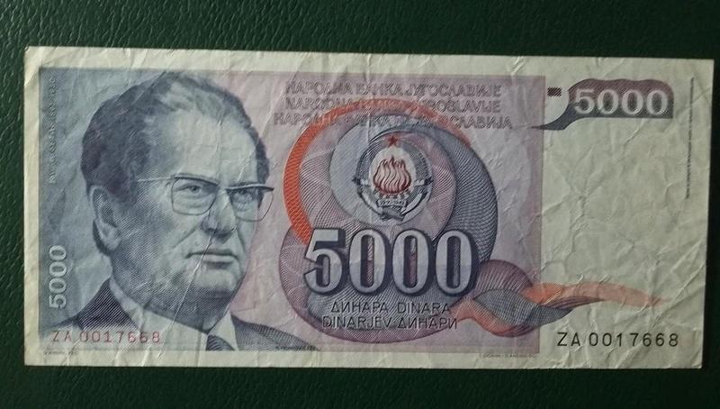 Yugoslavia 5000 Dinares P-93x (1985)  20180421