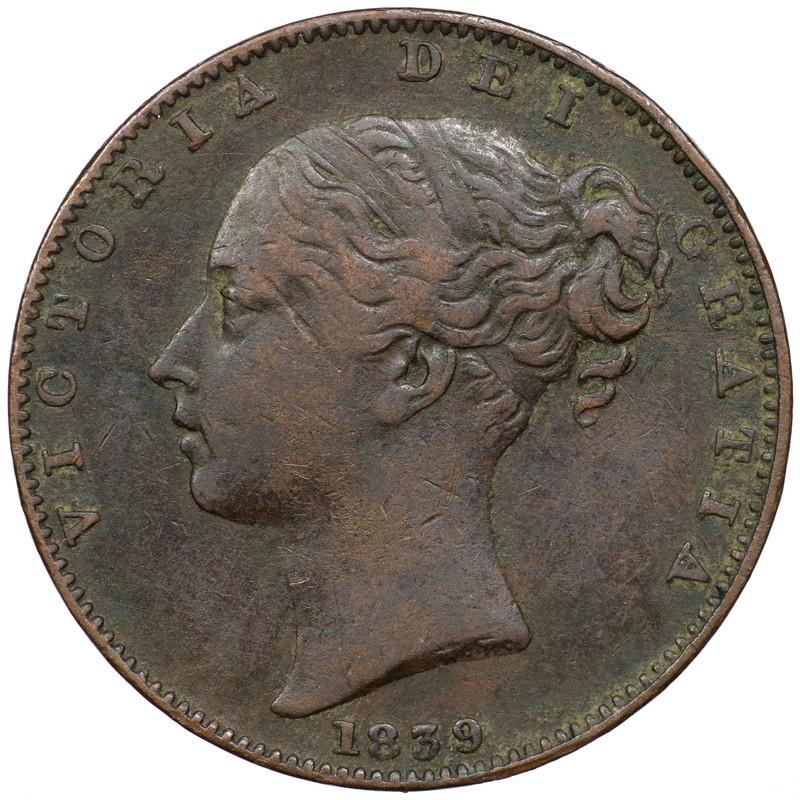 Gran Bretaña. Farthing 1839 con tridente de dos puntas. 0068210