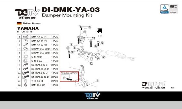 Couple de serrage de la vis derrière la colonne de direction Di-dmk11