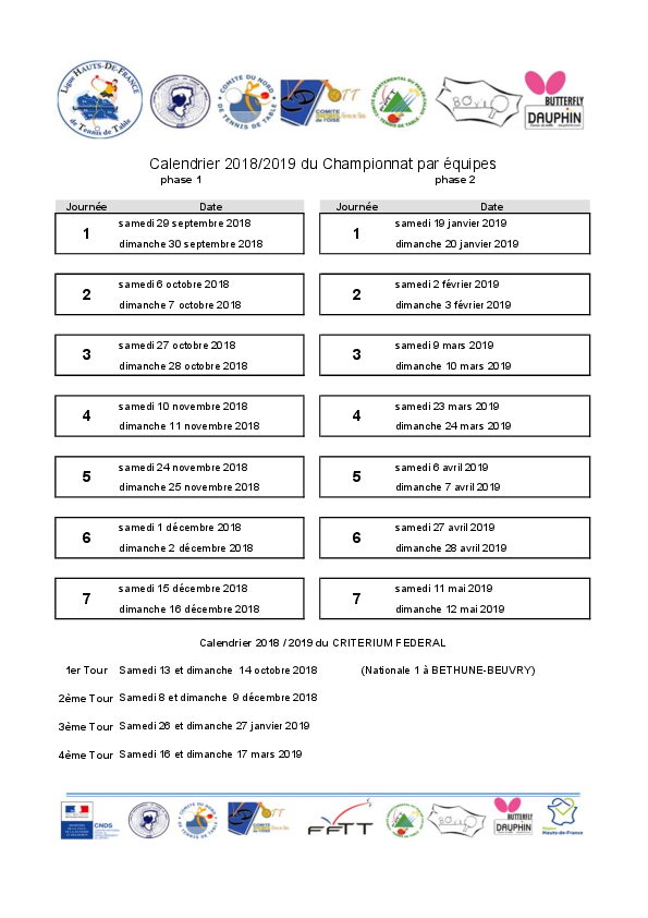 Dates championnat 2018/2019 et dates criterium Calend10