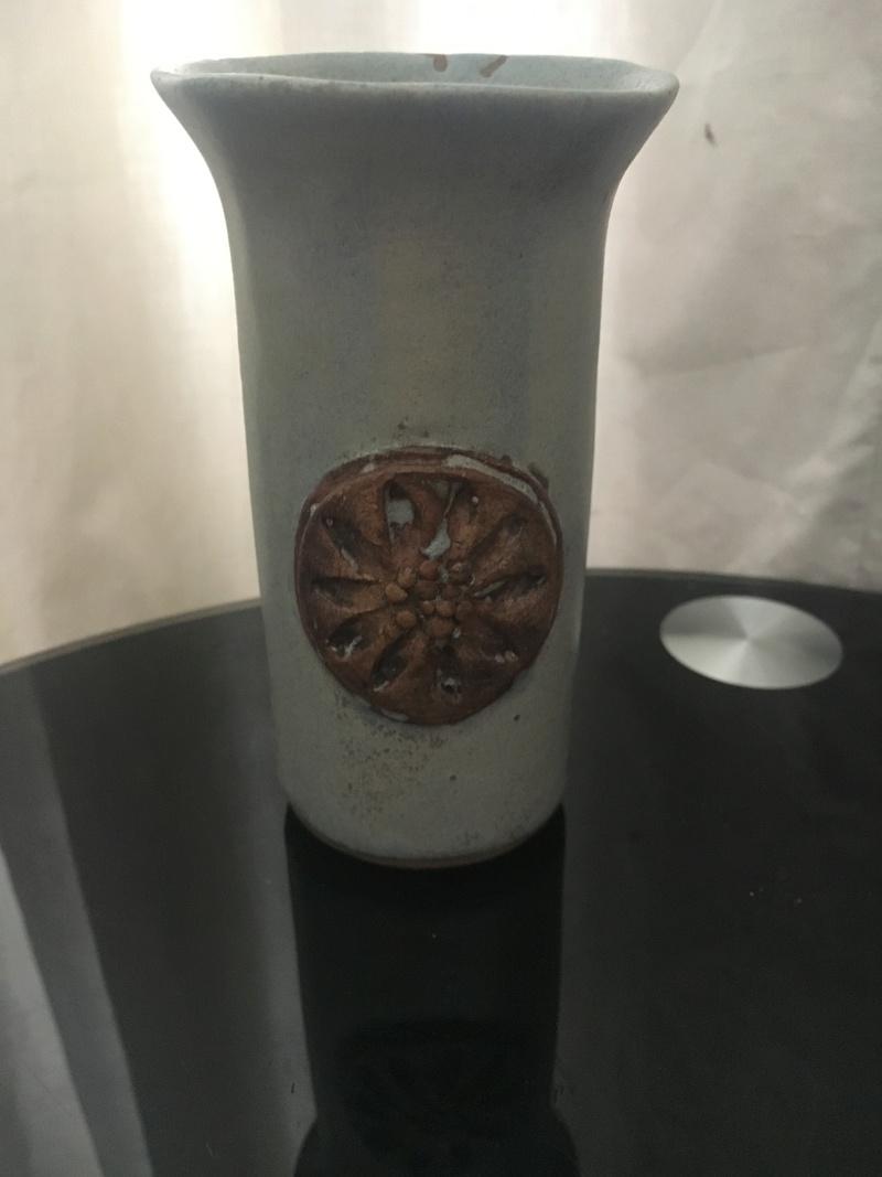 Studio pottery mini cylinder vase with flower motif 595cfb10