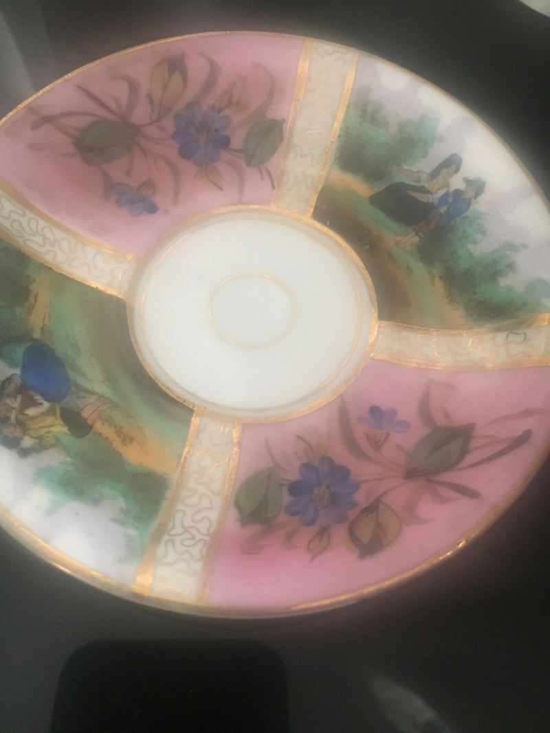 Mini teacup and saucer porcelain Handpainted gilding bright mark R 5d981610