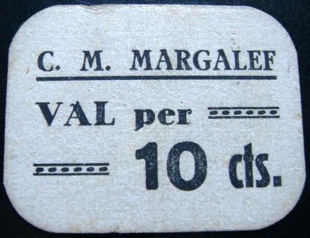 10 Céntimos Margalef de Montsant, 1937 Margal10