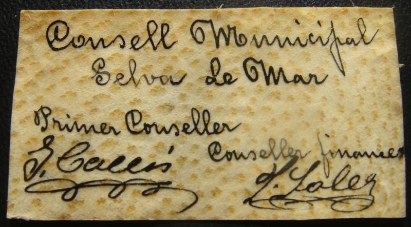 selva de mar - 50 Cèntims Selva De Mar, 11 Setembre 1937  Selvad10