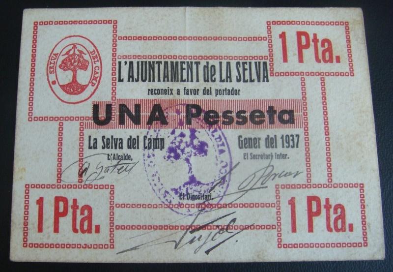1 Peseta La Selva Del Camp, 1937  Selvad12