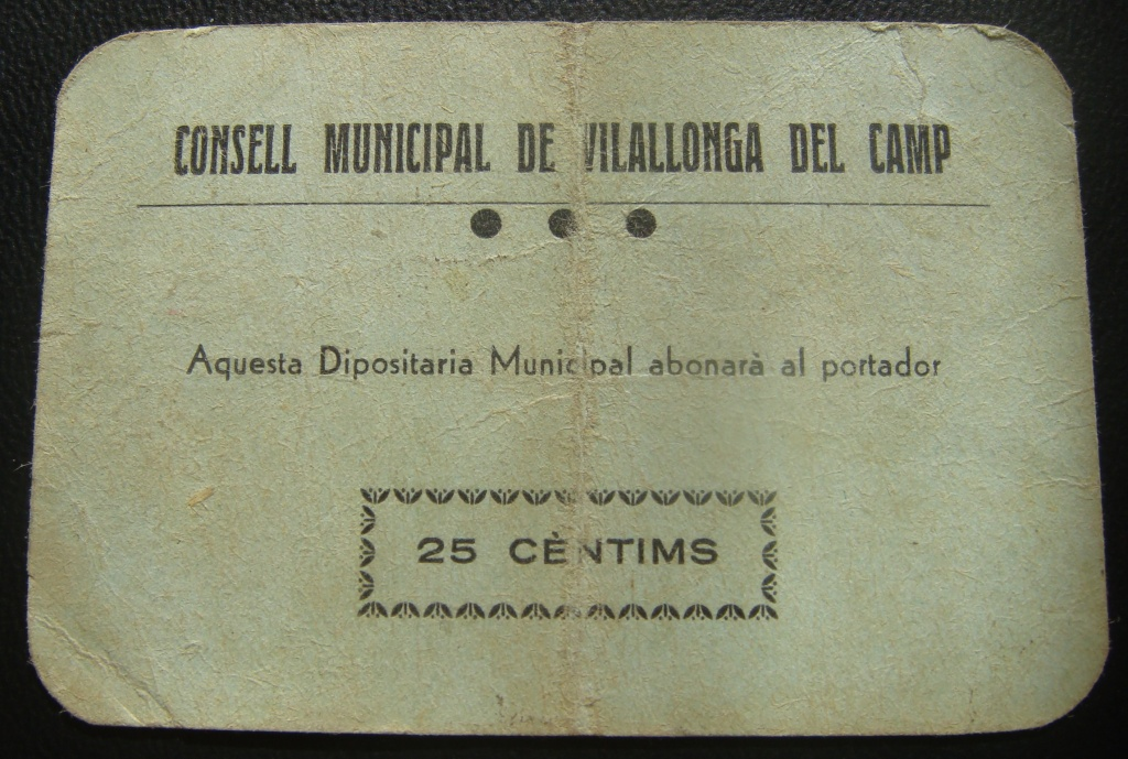 25 Cèntims Vilallonga Del Camp, 1937 (1ª Emisión) Vilall10