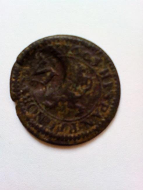 2 maravedís de Felipe III de Segovia, 1601, resellados. R-rese11