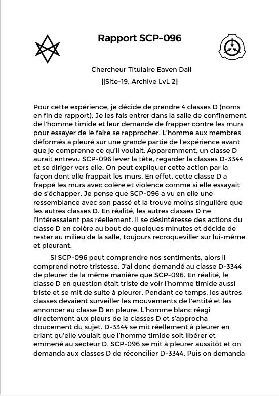 Rapport du Chercheur Eaven Dall sur SCP-096 Screen34