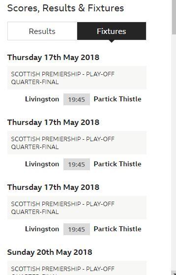 Premiership Play Off Final v Partick Th Fixtur10