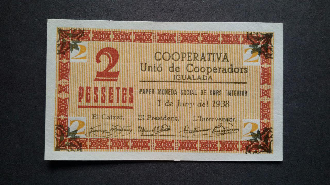 2 pesetas Unió de Cooperadors d'Igualada, 1938 Photo_25