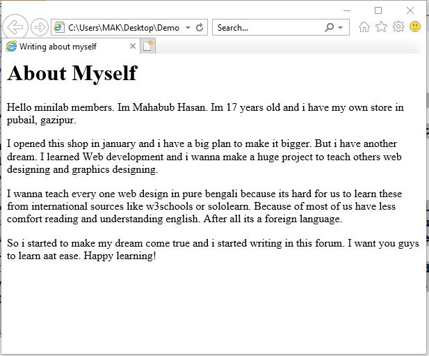 HTML শেখা। তৃতীয় পর্ব। #HTML Myself10