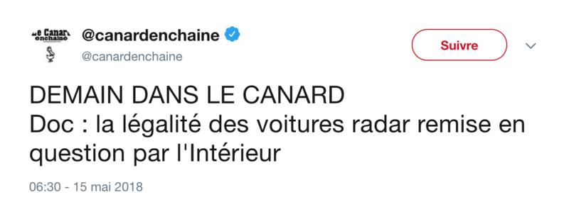 Sécurité routière : les radars embarqués commencent à flasher Canard10