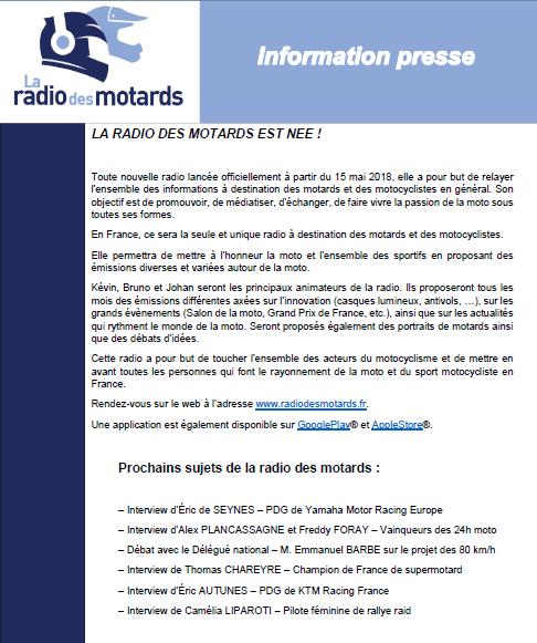 Nouvelle plateforme de la web radio des motards Commun10