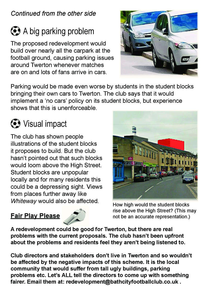 What's wrong with the proposed redevelopment of Twerton Park? Demo_f12