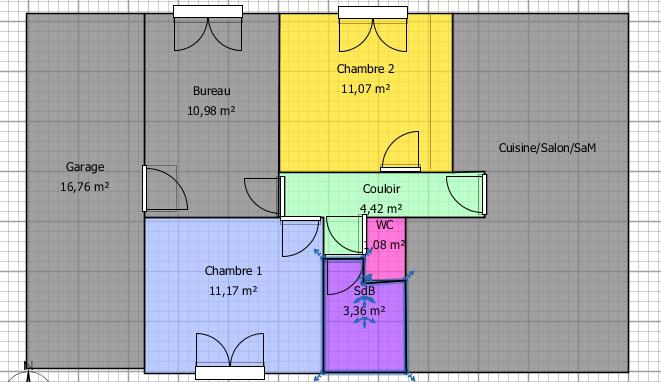 Couleurs de couloir et chambres Plan10