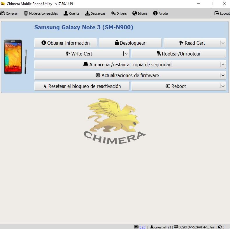 NOTE 3 N900 . NO ESCRIBE CERTIFICADO CHIMERA 110