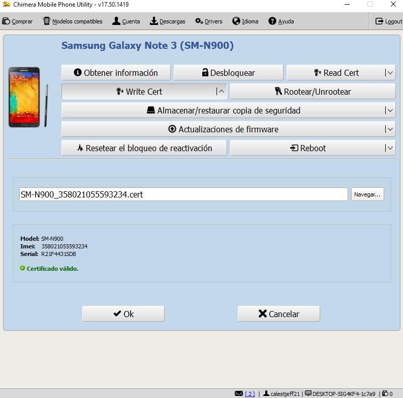 NOTE 3 N900 . NO ESCRIBE CERTIFICADO CHIMERA 210