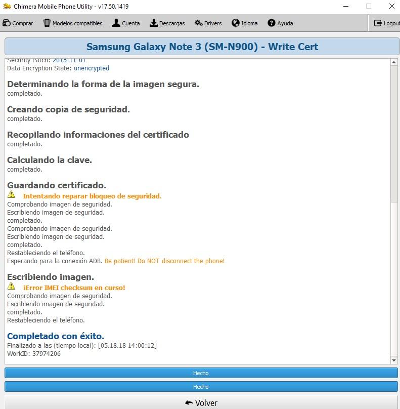 NOTE 3 N900 . NO ESCRIBE CERTIFICADO CHIMERA 310