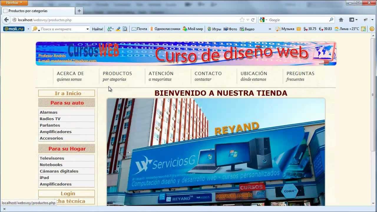 El uso de la pagina web de dreamweaver Web10
