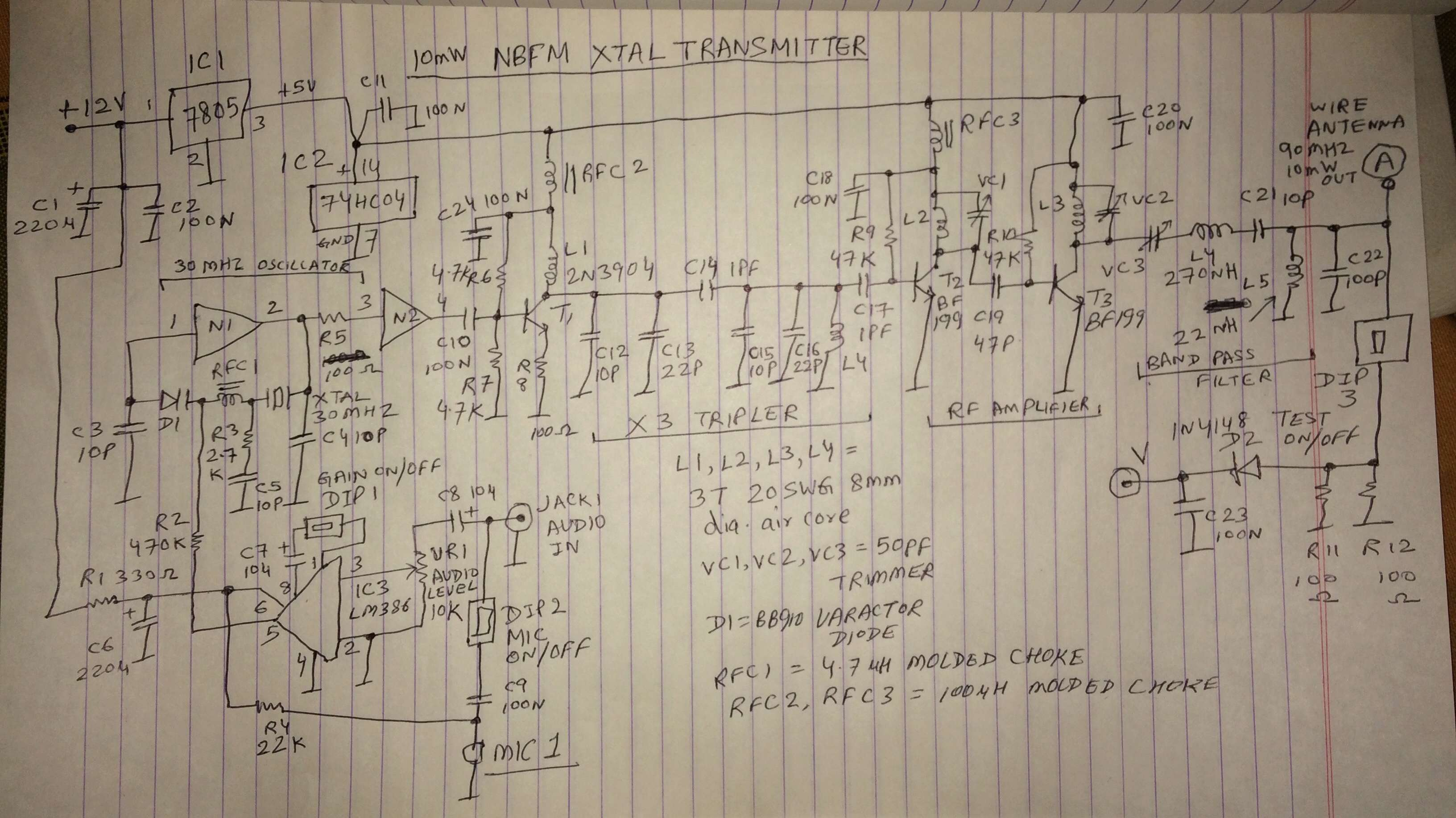 10 mW NBFM Transmitter Schematic  2263de10