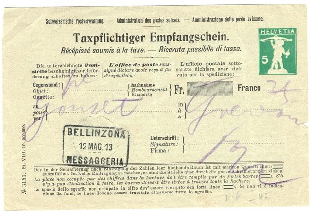 Taxpflichtiger Empfangsschein - Tellknabe 5Rp. Ganzsa10