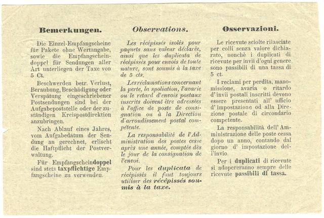 Taxpflichtiger Empfangsschein - Tellknabe 5Rp. Ganzsa11
