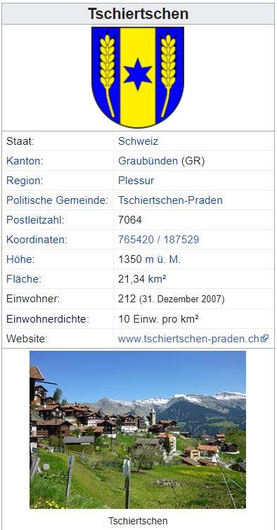 Tschiertschen GR - 212 Einwohner Y10