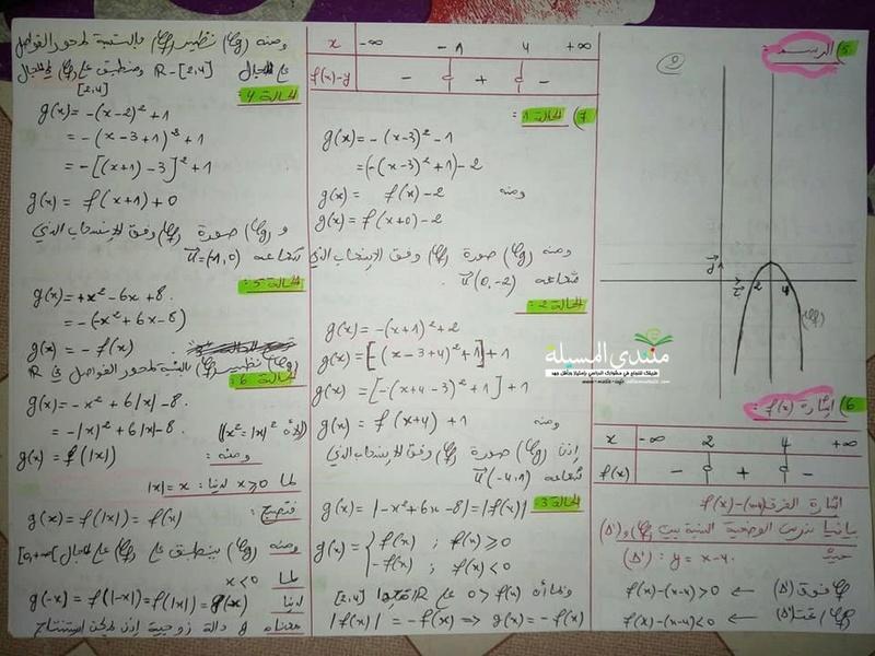 اختبار شامل في الدوال و الاحتمالات ...للفصل 1 للسنة 2 ثانوي جميع شعب علمية  00410