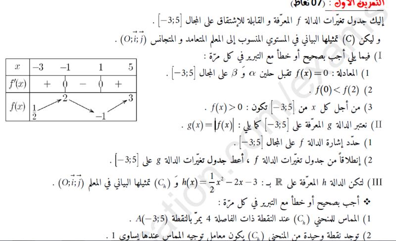 تصحيح اختبار للسنة 2 ثانوي في مادة الرياضيات  Captur14