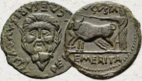 As de Emerita Augusta, tiempos de Augusto. AVGVSTA - EMERITA. Sacerdote con yunta a izq.  5_14b10