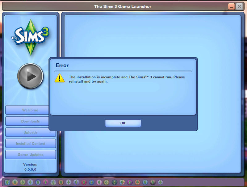 There was an error during start up. Please see the log for more details ERROR Sims 3 Launcher Rwer10