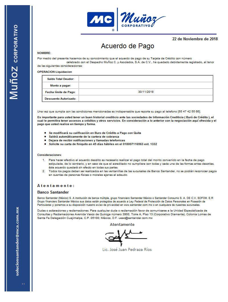 Ayuda con Carta Covenio Santander y Muñoz Corporativo 54704610