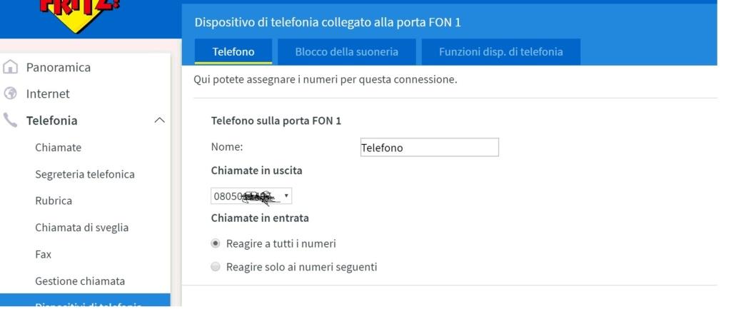 Configurazione telefono fastgate-fritzbox 310