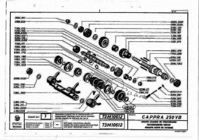 Recherche Pièce boîte de vitesse Montesa Cappra 250 VB 1978  Vue_zo10
