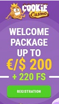 Cookie casino infos welcome package