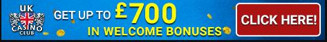 UK Casino Club get up 700 welcome bonuses