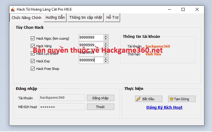 Hack Tứ Hoàng Làng Cát Mobile Tuhoan10