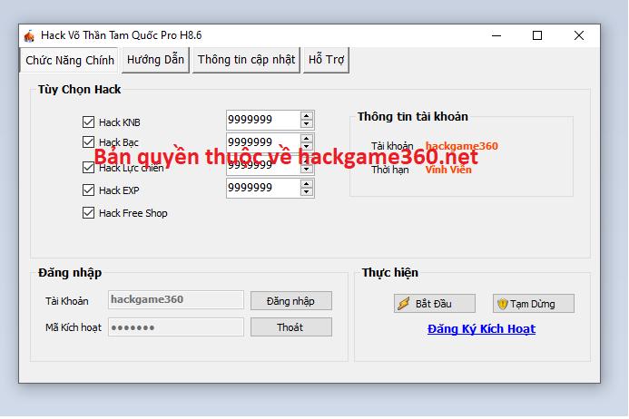 Hack Võ Thần Tam Quốc miễn phí Vothan10