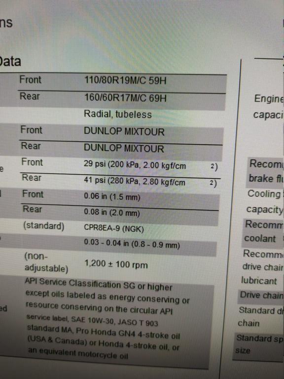 Presiones para el neumatico Dunlop 16155310