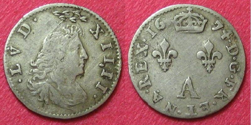 """Louis XIV 2 sols dit """"des traitants"""" au petit buste 1674 A 00210"""
