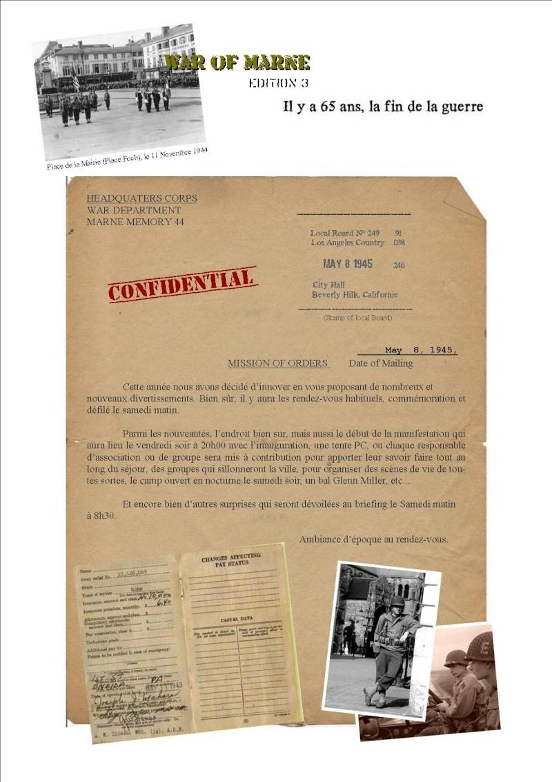 MAI 1945,  MAI 2010, 65éme ANNIVERSAIRE, MARNE Memory 44 P412