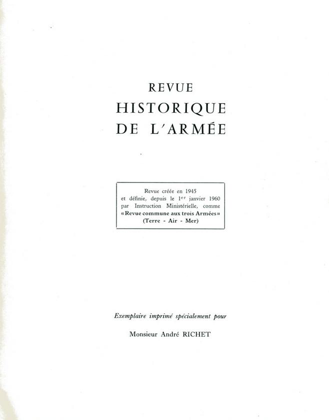 n°2 en 1966 de la Revue Historique des Armées Rha0210