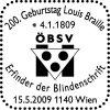 """Sonderpostamt """"200. Geburtstag Louis Braille - Erfinder der Blindenschrift"""" 90_15_10"""
