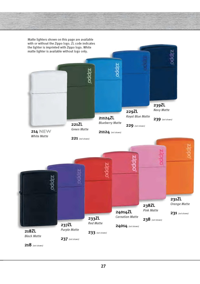 Catalogue ZIPPO 2010 Complete line (version américaine) 2713