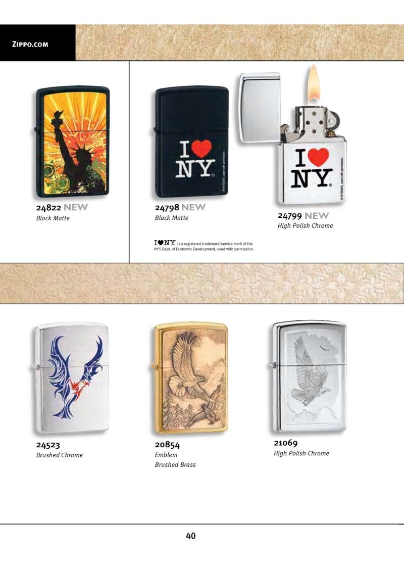 Catalogue ZIPPO 2010 Complete line (version américaine) 4014
