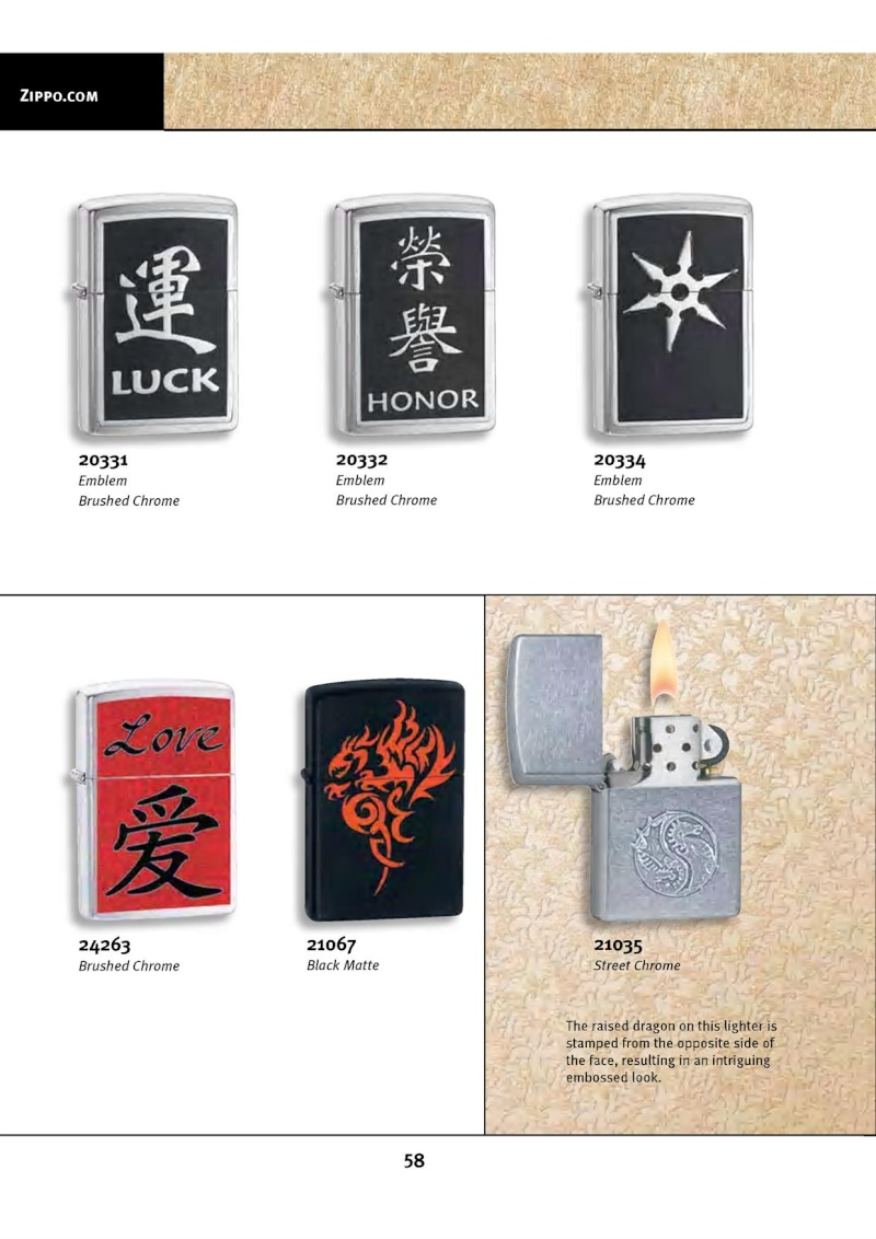 Catalogue ZIPPO 2010 Complete line (version américaine) 5812