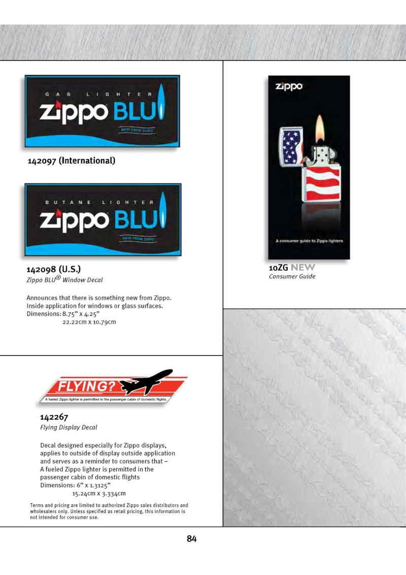 Catalogue ZIPPO 2010 Complete line (version américaine) 8410