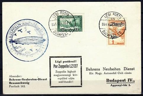 Zeppelinbeleg aus Ungarn  Zeppel10